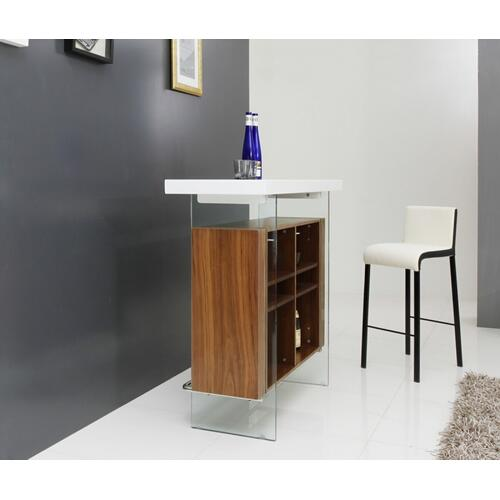 VIG Furniture - Modrest Sven Contemporary White & Walnut Floating Bar Table
