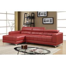 Samuel Bonded Leather Ottoman, Red