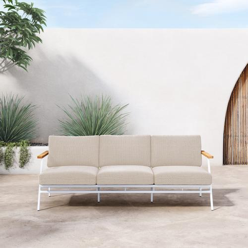 Faye Sand Cover Aroba Outdoor Sofa, White Aluminum