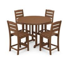 View Product - Lakeside 5-Piece Round Counter Side Chair Set in Teak