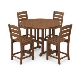 Polywood Furnishings - Lakeside 5-Piece Round Counter Side Chair Set in Teak
