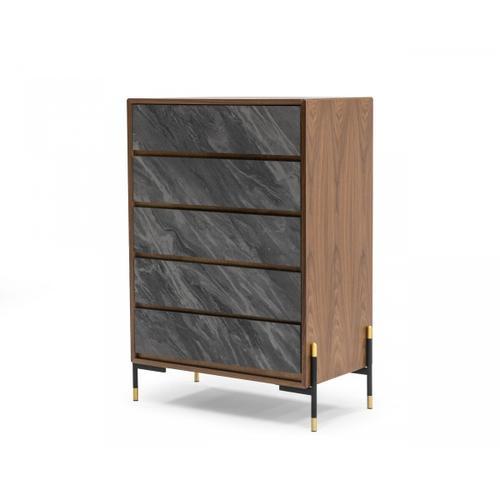 VIG Furniture - Nova Domus Metcalf - Mid-Century Walnut & Grey Chest