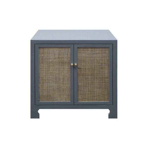 British West Indies Style With A Modern Flair, This Chic Occasional Cabinet Showcases Natural, Hand-woven Caning On A Crisp, Matte Grey Canvas. the Result - A Sublime Composition That Embodies Casual Elegance. Whether Placed In A Coastal Retreat or Downtown Loft, Alden Complements Any Design Motif.