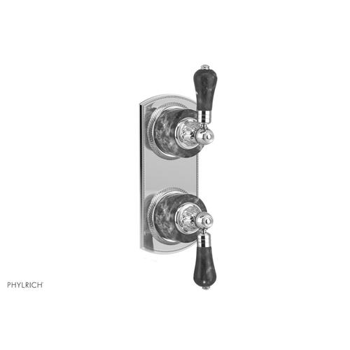 """VERSAILLES 1/2"""" Mini Thermostatic Valve with Volume Control or Diverter - Bleu Sodalite Lever Handles 4-459A - French Brass"""