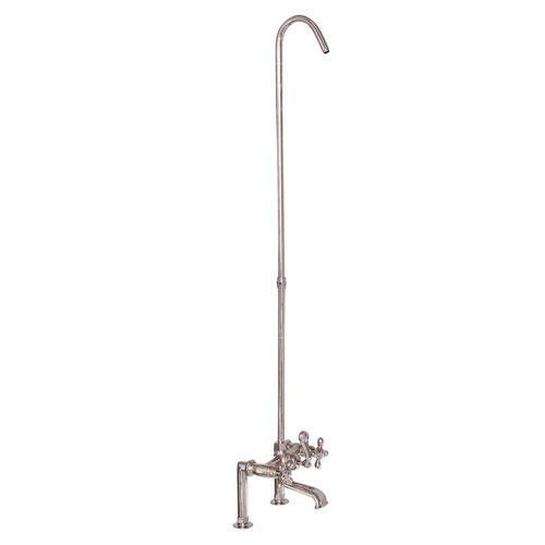Tub Rim-Mounted Filler with Diverter and Riser - Cross / Polished Nickel