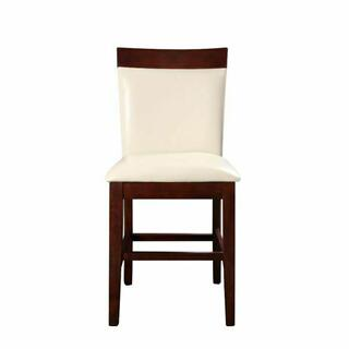 ACME Keelin Counter Height Chair (Set-2) - 71043 - Beige PU & Espresso