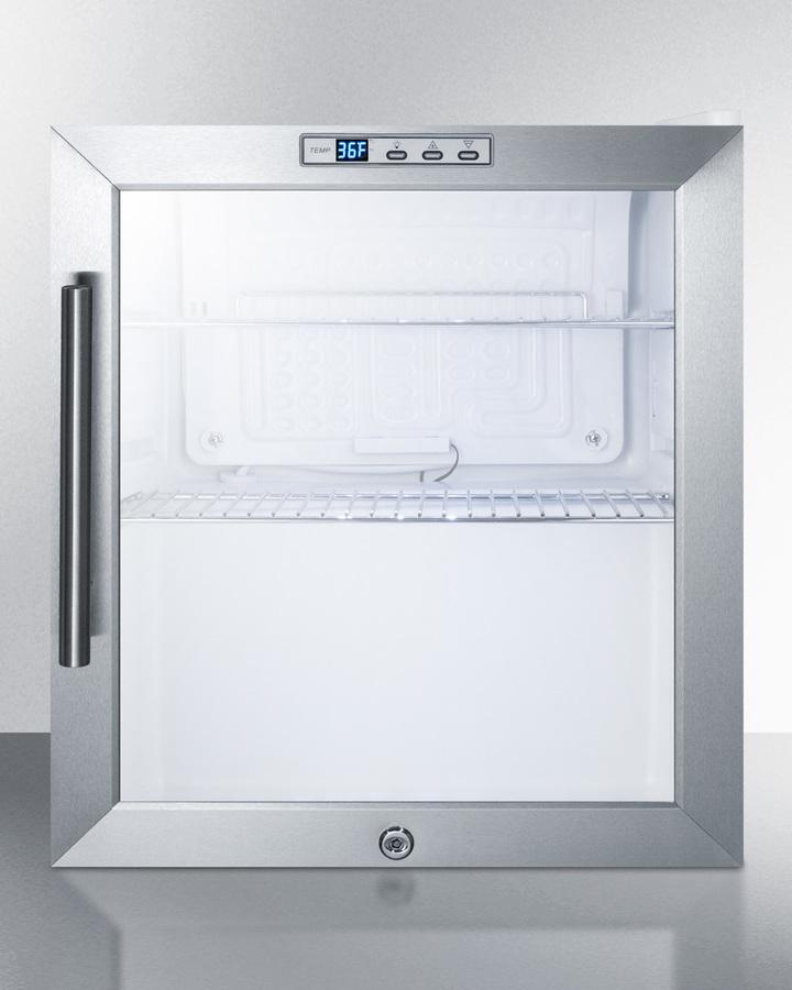 SummitCommercially Approved Glass Door Refrigerator Designed For The Display And Refrigeration Of Beverages Or Sealed Food, With Digital Thermostat And White Cabinet Finish