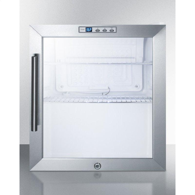 Commercially Approved Glass Door Refrigerator Designed for the Display and Refrigeration of Beverages or Sealed Food, With Digital Thermostat and White Cabinet Finish