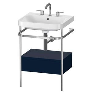 Furniture Washbasin C-shaped With Metal Console Floorstanding, Night Blue Satin Matte (lacquer)