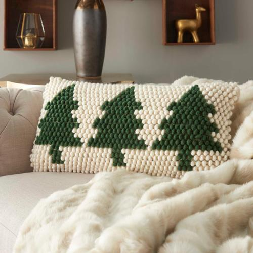 """Home for the Holiday Dc569 Green Ivory 12"""" X 24"""" Throw Pillow"""