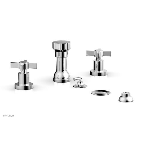 BASIC Four Hole Bidet Set - Blade Cross Handles D4137 - Polished Chrome