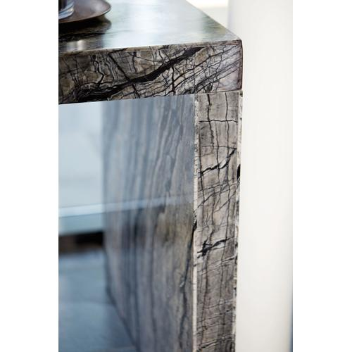Linea Desk in Black Forest Marble (384), Textured Graphite Metal (384)
