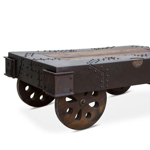 """Product Image - Vintage Industrial 48"""" Coffee Table with Wheels"""