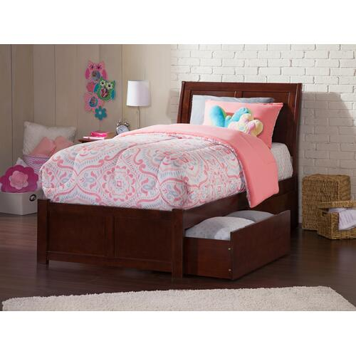 Portland Twin Flat Panel Foot Board with 2 Urban Bed Drawers Walnut