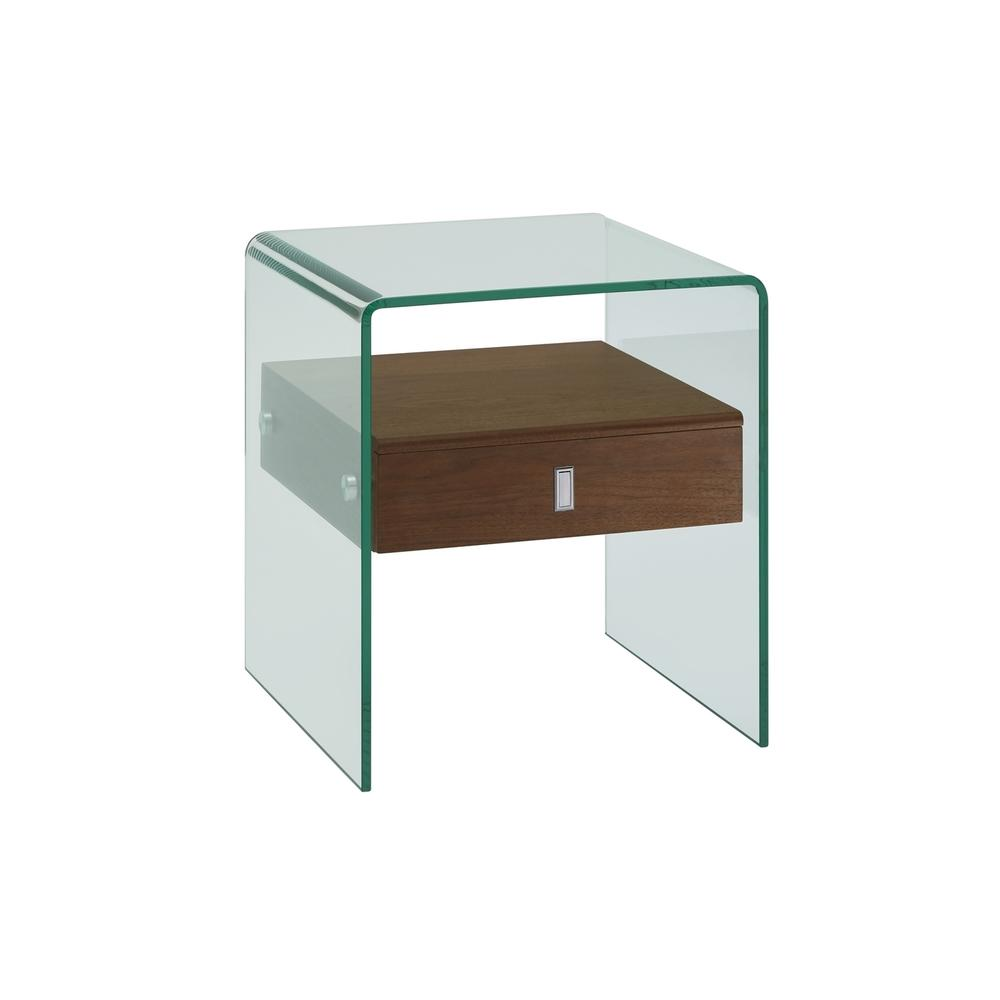 The Bari Nightstand In Walnut Veneer With Glass