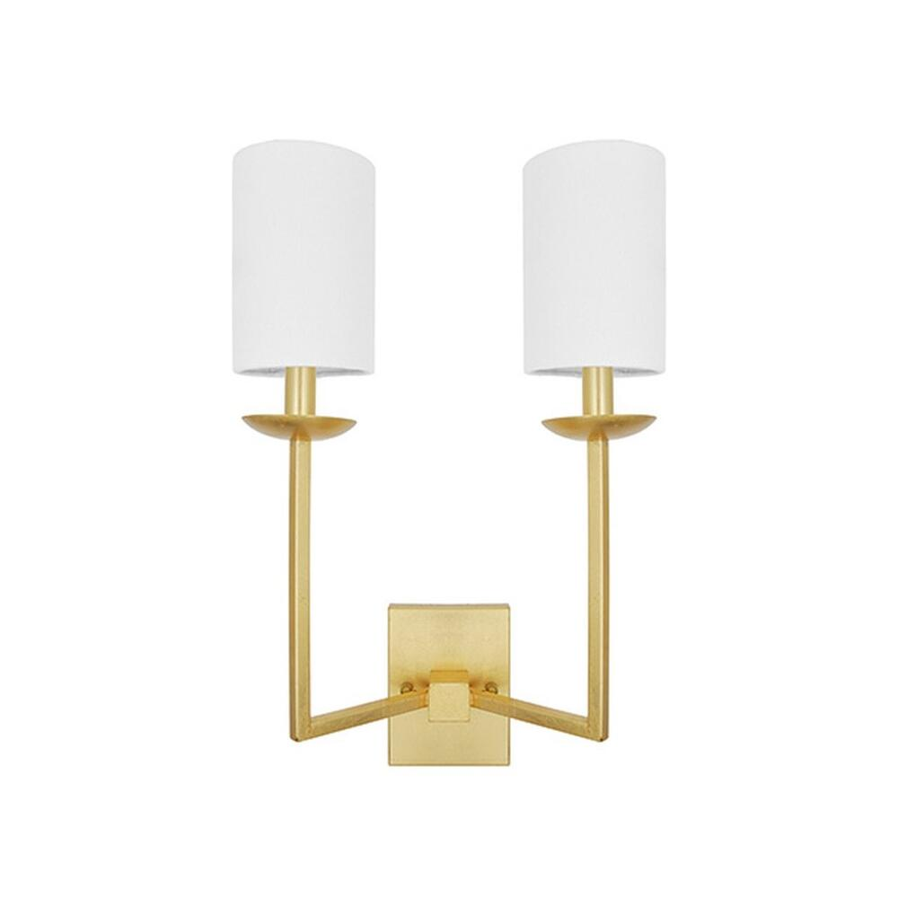 The Triumphant Gesture of Our Stanley Two Arm Sconce Makes Any Room A Winner. Hand Finished In Gold Leaf With Two Crisp White Linen Shades.