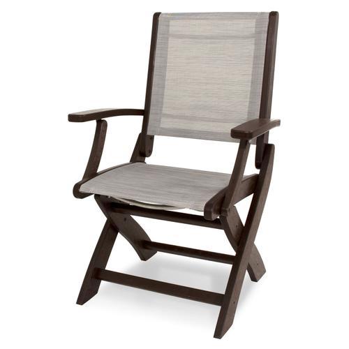Mahogany & Metallic Coastal Folding Chair