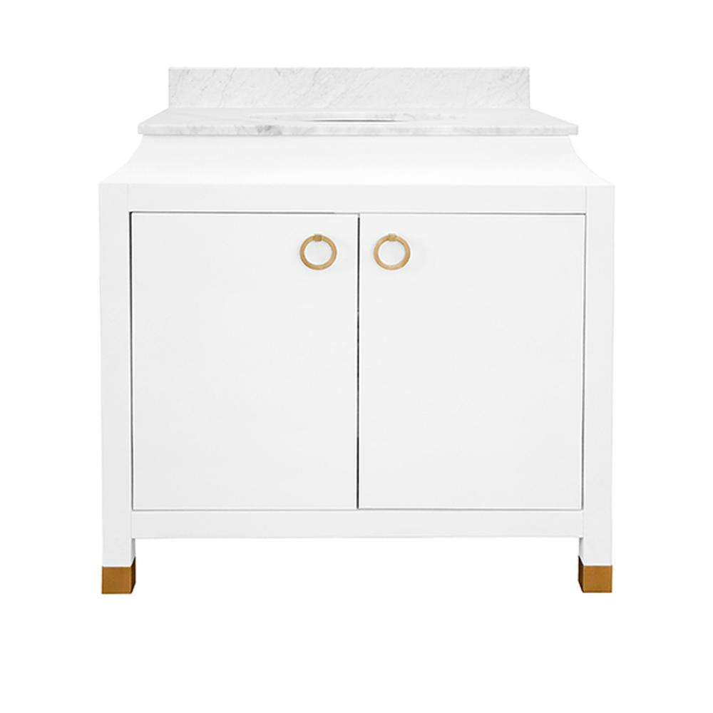 See Details - The Bree Bath Vanity Offers A Multitude of Features Perfect for Your Master Bath or Powder Room. With A Matte White Lacquer Finish and Tapering Profile, Bree Delivers Feminine Grace and Air of Sophistication. Each Cabinet Door Is Adorned With Brass Ring Hardware, and Legs Include Coordinating Brass Ferrules as A Finishing Touch. Bree Is Crowned With A Luxurious White Carrara Marble Top, Backsplash, and White Porcelain Sink. Tres Chic!