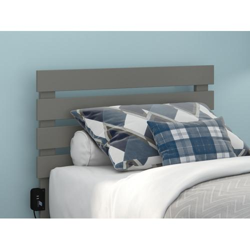 Oxford Twin Headboard with USB Turbo Charger in Grey