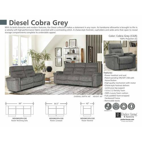 Parker House - DIESEL POWER - COBRA GREY Power Sofa