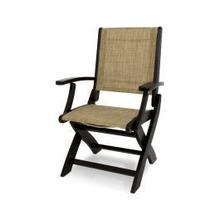 View Product - Coastal Folding Chair in Black / Burlap Sling