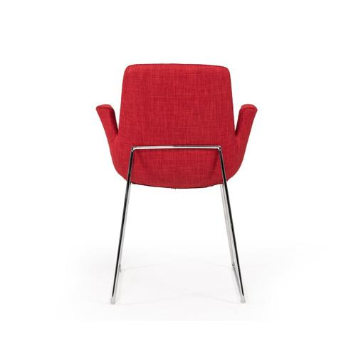Gallery - Modrest Altair Modern Red Fabric Dining Chair