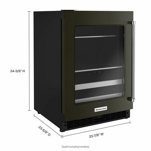 """KitchenAid - 24"""" Beverage Center with Glass Door and Metal-Front Racks - Black Stainless Steel with PrintShield™ Finish"""