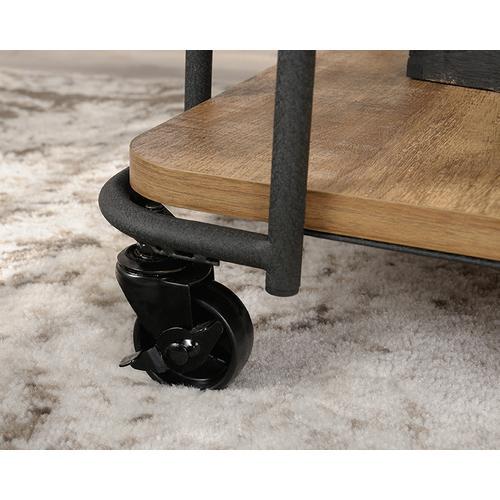Sauder - Rustic Rolling Metal & Wood Side Table