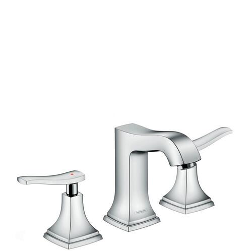 Chrome Widespread Faucet 110 with Lever Handles and Pop-Up Drain, 0.5 GPM