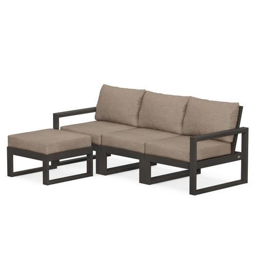 Polywood Furnishings - EDGE 4-Piece Modular Deep Seating Set with Ottoman in Vintage Coffee / Spiced Burlap