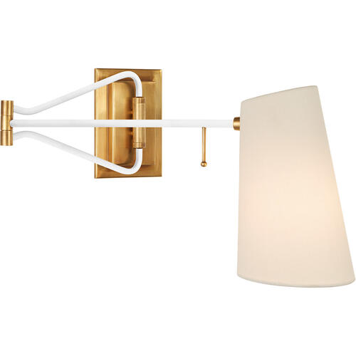 AERIN Keil 29 inch 40 watt Hand-Rubbed Antique Brass and White Swing Arm Wall Light