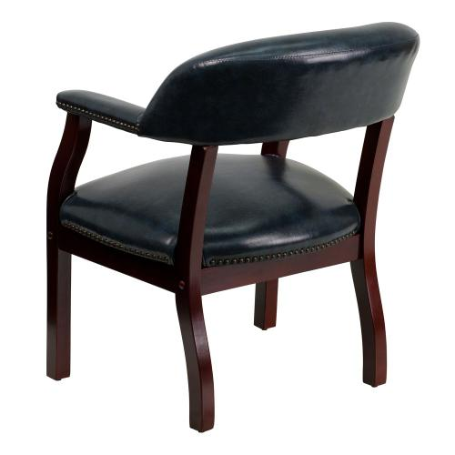 Navy Vinyl Luxurious Conference Chair with Accent Nail Trim