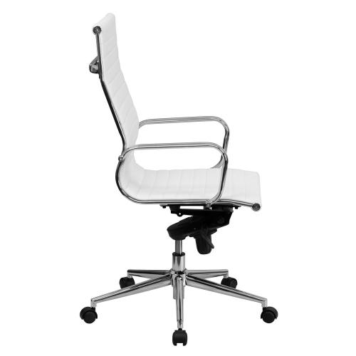 High Back White Ribbed Leather Executive Swivel Chair with Knee-Tilt Control and Arms
