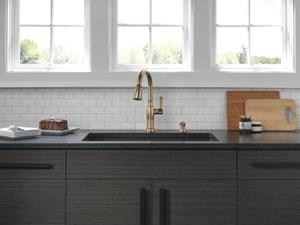 Champagne Bronze Single Handle Pull-Down Kitchen Faucet with Soap Dispenser and ShieldSpray ® Technology Product Image
