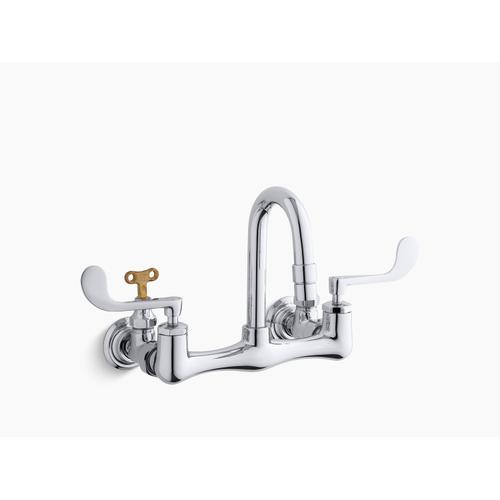 Polished Chrome Shelf-back Double Wristblade Lever Handle Sink Faucet With Loose-key Stops