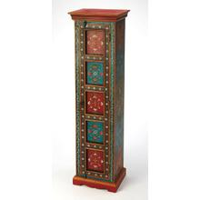 See Details - This tall cabinet comes with much storage space. Built from Meranti wood and MDF, it stands 60'' H. This hand painted piece offers a convenient spot to tuck away anything from seasonal clothes and spare linens to canned food and coffee cups. Beautiful hand painted floral patterns adorn all visable sides of this cabinet.Behind the door, you'll find five compartments for storage.