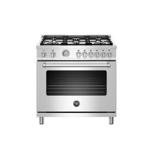 36 inch All Gas Range, 6 Brass Burners Stainless Steel Product Image
