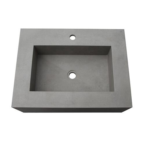 "Precious 25"" Wall-Hung Sink with Invisible Drain - Cool Gray / Single-Hole"