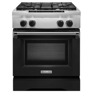 KitchenAid30'' 4-Burner Dual Fuel Freestanding Range, Commercial-Style Imperial Black