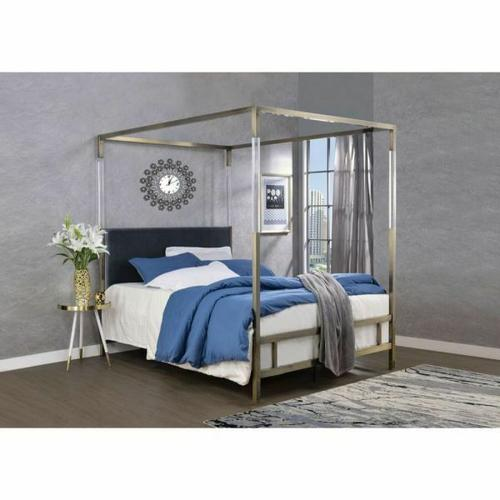 ACME Raegan Queen Bed (Canopy) - 22670Q - Gray Velvet & Antique Brass