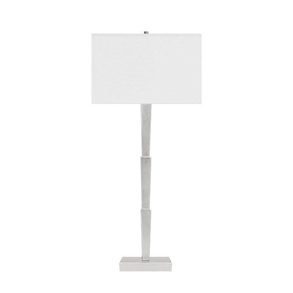 Our Caldwell Deco Table Lamp With Three Streamlined Tiers Lends Modern Sophistication To Any Space. Perfectly Finished In Silver Leaf With A Square White Linen Shade. So Chic!