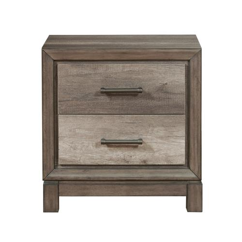 Two Drawer USB Charging Nightstand in Elm Brown