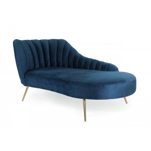 Gallery - Modrest Florez - Modern Blue Velvet Chaise