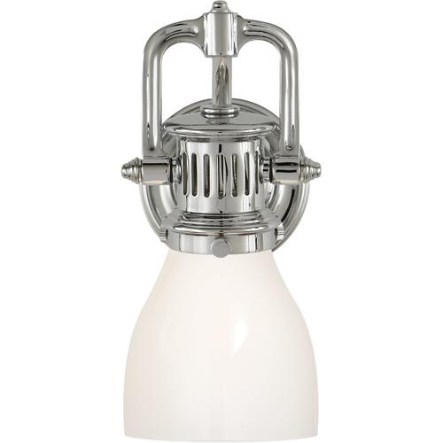 E. F. Chapman Yoke 1 Light 5 inch Polished Nickel Suspended Wall Sconce Wall Light in White Glass