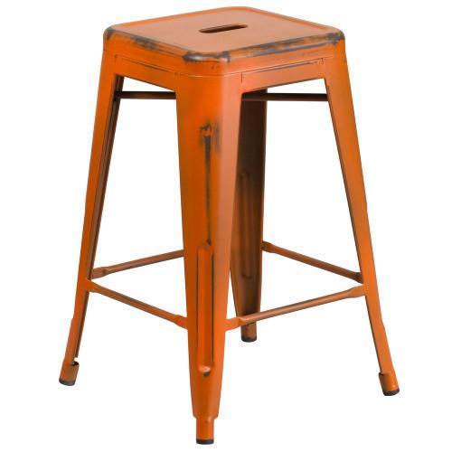 24'' High Backless Distressed Orange Metal Indoor-Outdoor Counter Height Stool