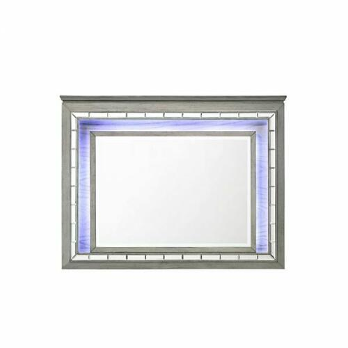 ACME Antares Mirror (LED) - 21824 - Glam, Transitional - Mirror, Wood (Solid Rbw), MDF, PB - Light Gray Oak