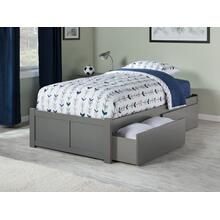 Concord Twin Flat Panel Foot Board with 2 Urban Bed Drawers Atlantic Grey