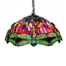 View Product - Tiffany Style Dragonfly Red Hanging Lamp