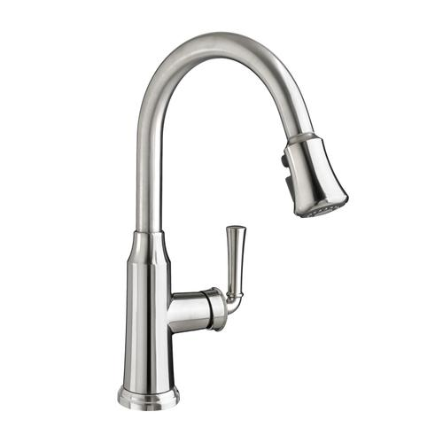 American Standard - Portsmouth 1-Handle Pull Down High-Arc Kitchen Faucet  American Standard - Stainless Steel
