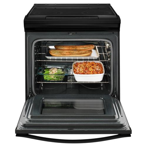 Gallery - 4.8 cu. ft. Guided Electric Front Control Range With The Easy-Wipe Ceramic Glass Cooktop Black